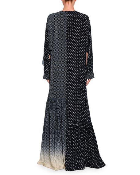 Dominique Scottie Mixed-Print Degrade Maxi Dress, Dark Blue