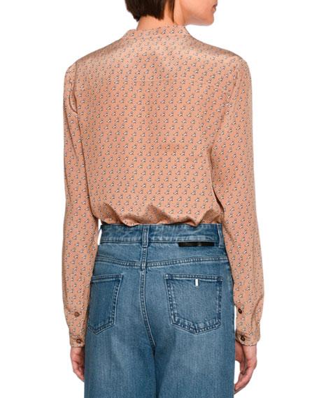 Eva Scottie-Print Silk Shirt, Camel