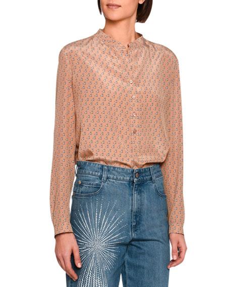 Stella McCartney Eva Scottie-Print Silk Shirt, Camel
