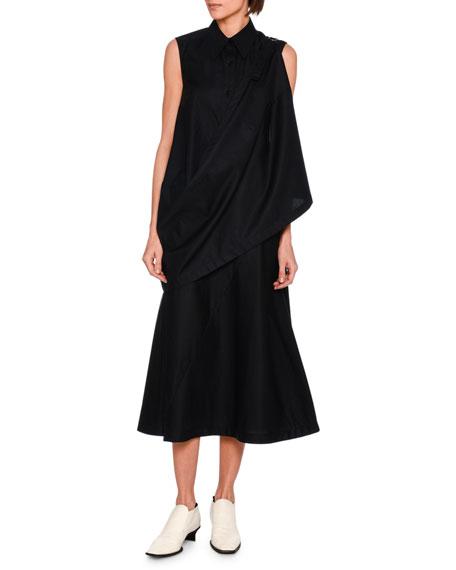 Willow Sleeveless Wrap-Detail Cotton Midi Dress, Dark Blue
