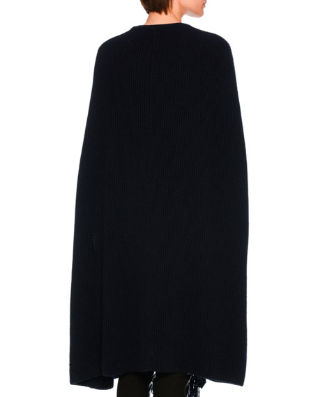 Cashmere-Wool Fringe-Placket Sweater Cape, Dark Blue