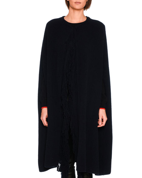 Stella McCartney Cashmere-Wool Fringe-Placket Sweater Cape, Dark
