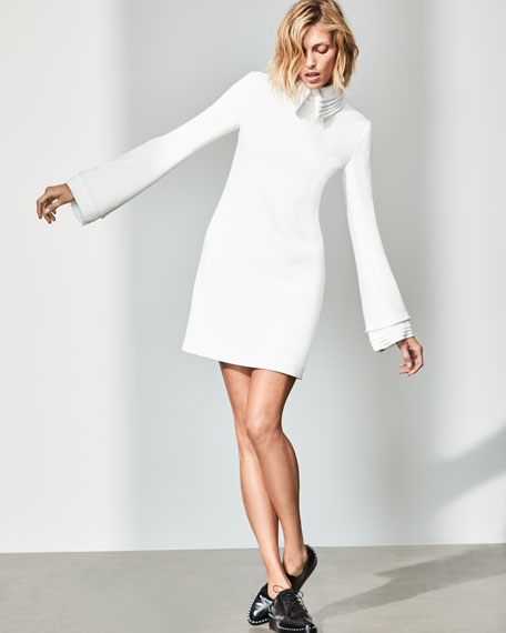Crepe Minidress with Petal Collar & Cuffs