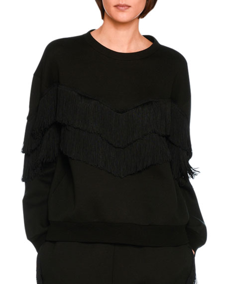 Stella McCartney Tiered V-Fringe Sweatshirt, Black
