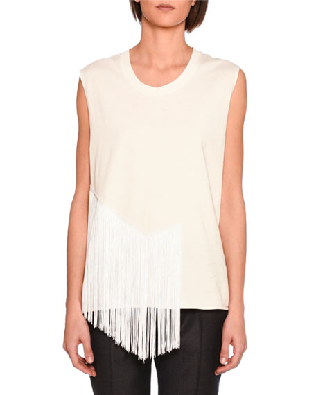 Muscle Tank with Fringe Trim, Ivory