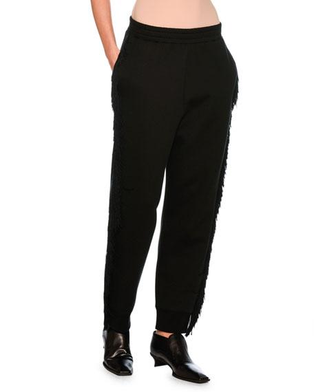 Fringed Jogger Pants, Black
