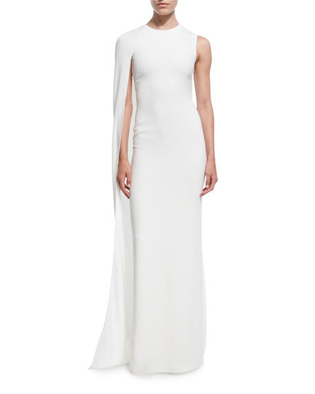 Cecilia One-Shoulder Cape Gown