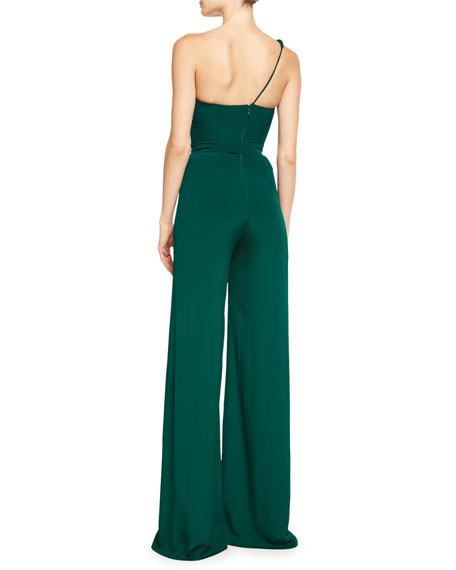 One-Shoulder Crepe Jumpsuit with Petal Details, Forest