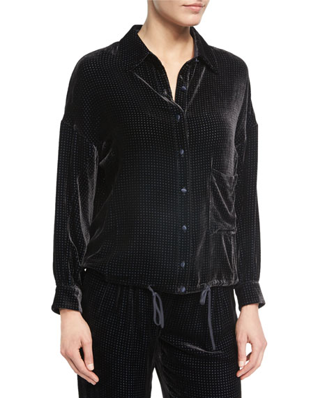 Perforated Velvet Pajama Top, Black