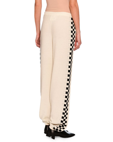 Checkerboard-Trim Virgin Wool Jogger Pants, White/Black