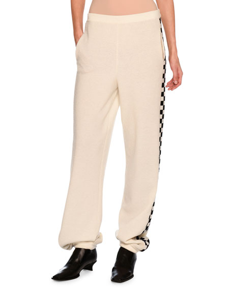 Stella McCartney Checkerboard-Trim Virgin Wool Jogger Pants,