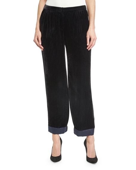 Armani Collezioni Perforated Velvet Pajama Pants, Black