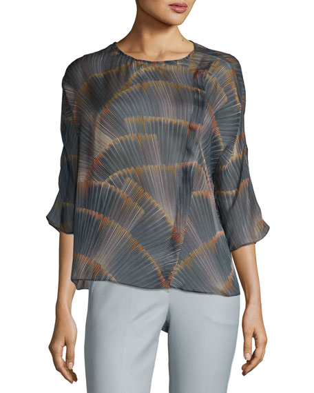 Armani Collezioni Feather-Print Georgette Tunic, Multicolor