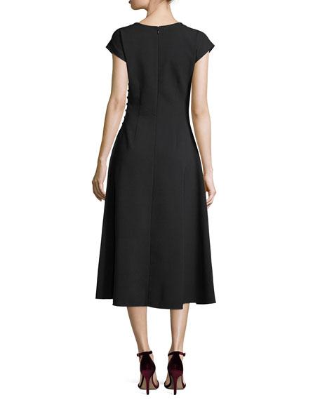 Addison Side-Button A-Line Midi Dress