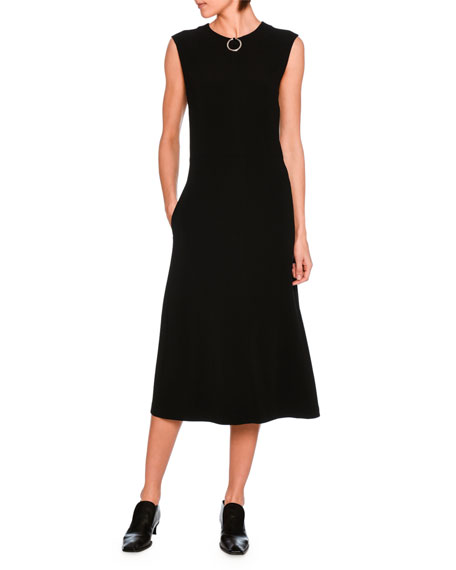 Jenny Ring-Detail A-Line Midi Dress, Black