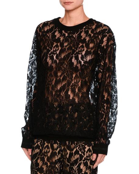 Stella McCartney Ines Floral Lace Sweatshirt, Black and
