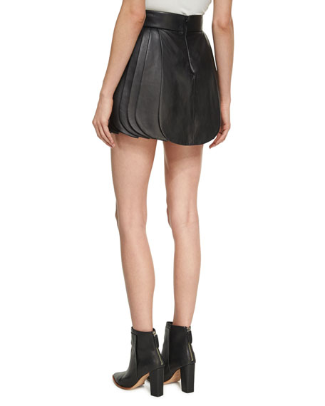 High-Waist Leather Petal Skirt, Black