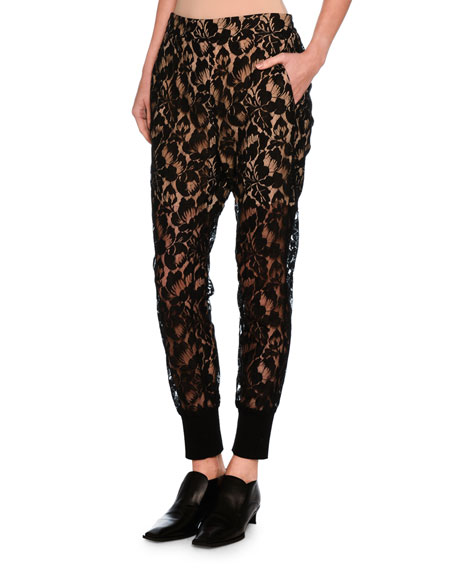 Julia Floral Lace Jogger Pants, Black