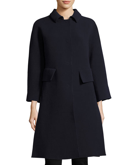 Armani Collezioni Stretch-Crepe Side-Vent Single-Breasted Coat, Blue