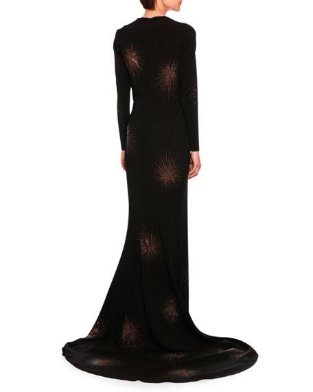 Layla Embellished Starburst Fishtail Gown, Black