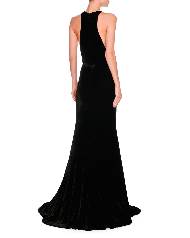 Stella McCartney Saskia Sleeveless Belted Velvet Gown, Black ...