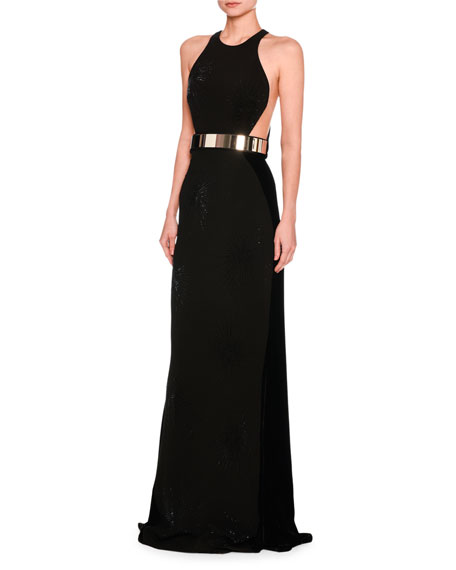 Stella McCartney Saskia Sleeveless Belted Velvet Gown, Black
