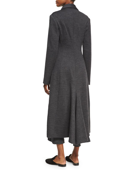 Melange Wool Flare-Back Coat, Charcoal