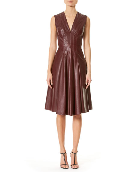 Carolina Herrera Lamb Leather Sleeveless V-Neck Dress, Burgundy