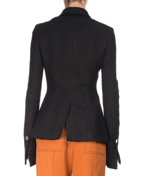 Asymmetric Tweed Coat, Black