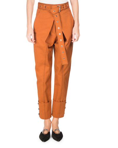 Belted Paperbag Pants with Wide Cuff, Brown