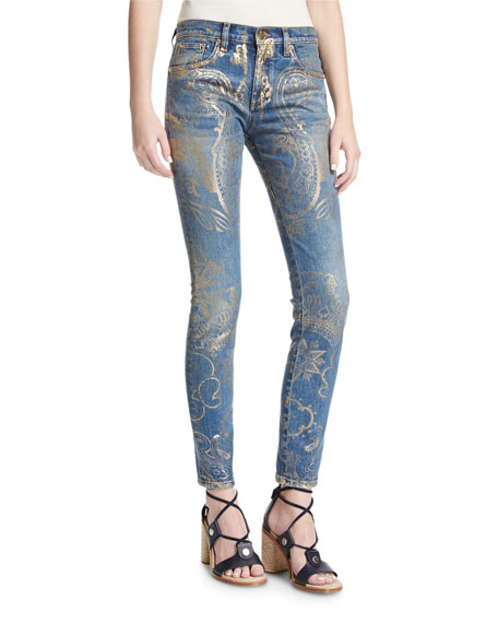 Roberto Cavalli Foiled-Paisley Skinny Jeans and Matching Items