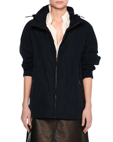 Sporty Zip-Front Jacket, Navy