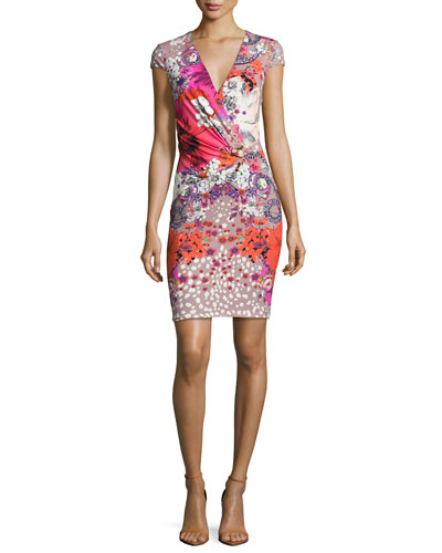 Garden of Eden Floral-Print Cap-Sleeve Minidress, Pink/Red