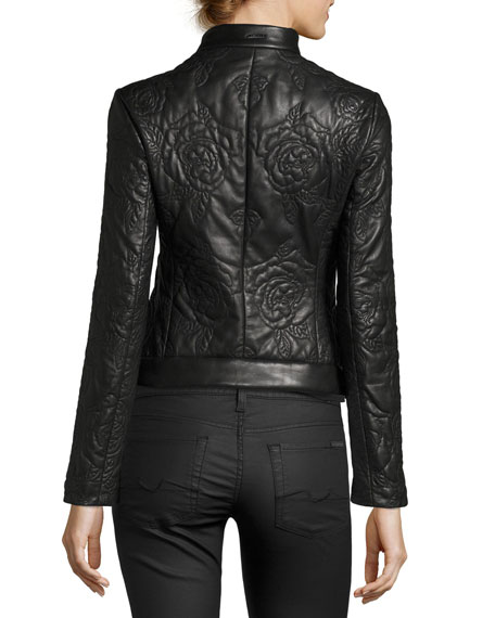 Armani Jeans Floral-Quilted Leather Moto Jacket, Black   Neiman Marcus : quilted leather moto jacket - Adamdwight.com