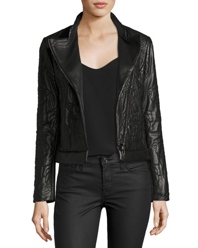 Floral-Quilted Leather Moto Jacket, Black