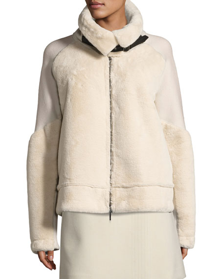 Faux Fur Bomber Jacket, Cream