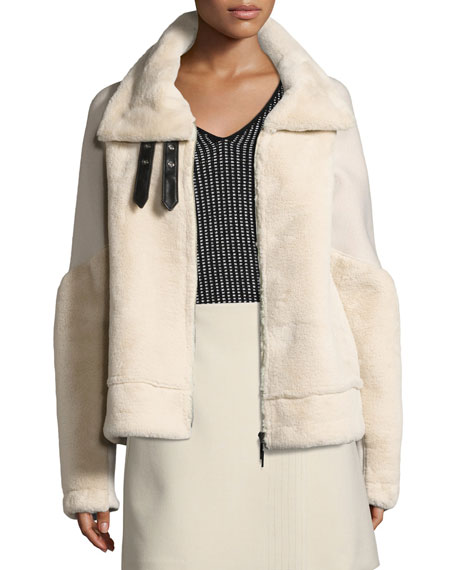 Armani Jeans Faux Fur Bomber Jacket, Cream