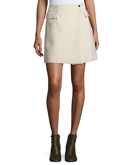 Crepe Wrap Skirt, Cream