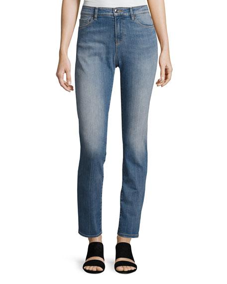 Armani Jeans High-Waist Vintage-Wash Skinny Jeans, Blue