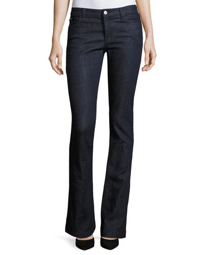 Mid-Rise Boot-Cut Stretch-Denim Jeans, Indigo