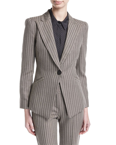 Armani Collezioni Mini-Herringbone Peak-Lapel Blazer and Matching