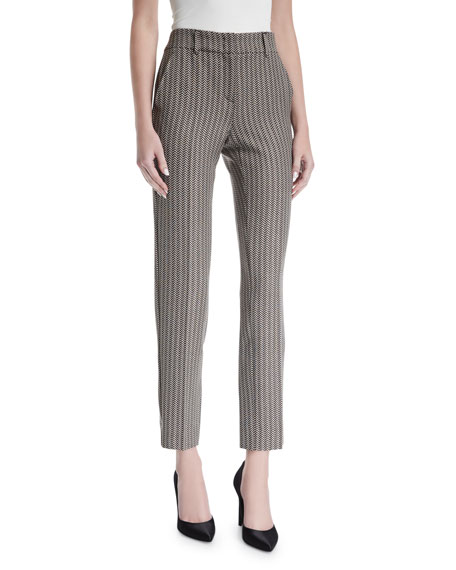Mini-Herringbone Slim Cropped Pants