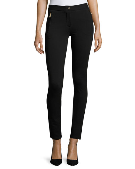 Skinny Zipper-Detail Leggings, Black
