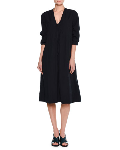 Tomas Maier Airy Long-Sleeve Tie-Front Dress, Navy