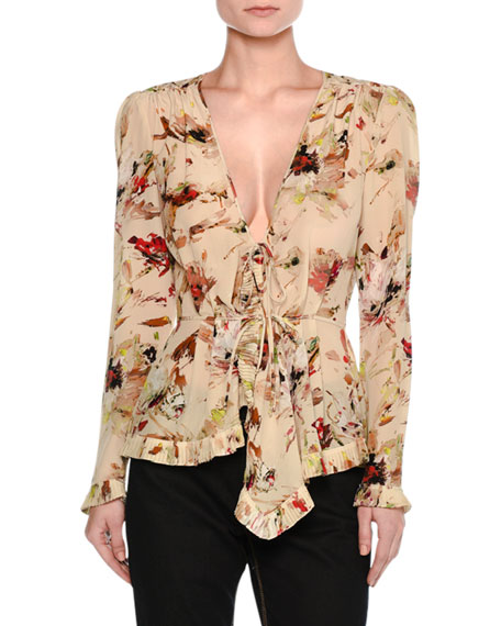 Tomas Maier Cosmic Floral Long-Sleeve Wrap Blouse,