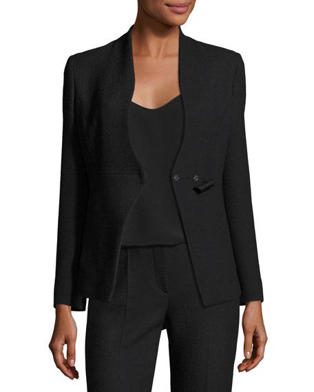 Textured Stretch-Wool Top, Black
