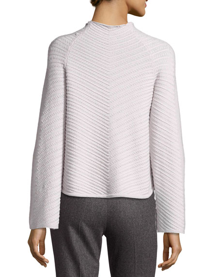 Diagonal-Stitch Mock-Neck Wool-Cashmere Sweater