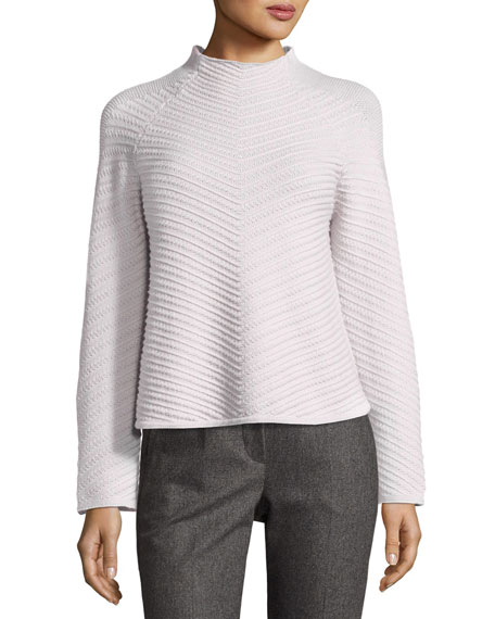 Armani Collezioni Diagonal-Stitch Mock-Neck Wool-Cashmere Sweater