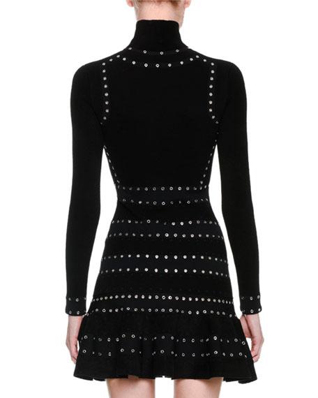 Sculpted Chenille Turtleneck Dress with Eyelet Trim, Black