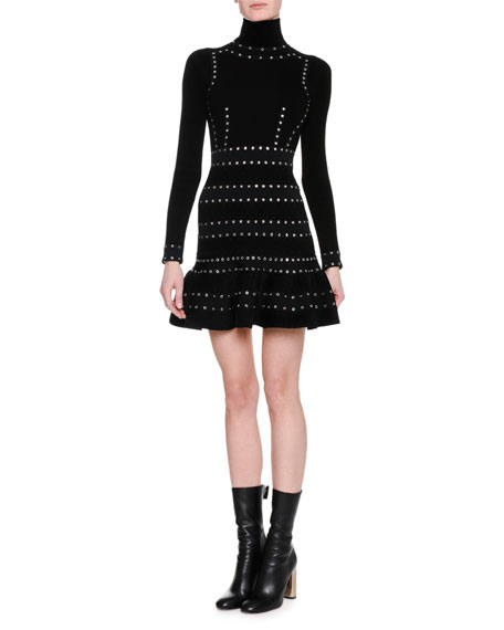 Alexander McQueen Sculpted Chenille Turtleneck Dress with Eyelet